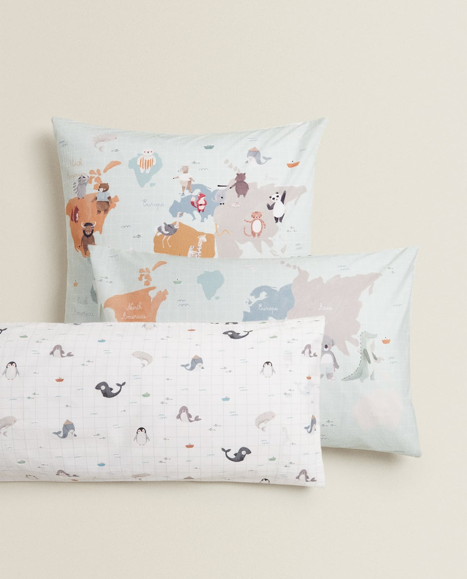 ANIMAL WORLD MAP PILLOWCASE