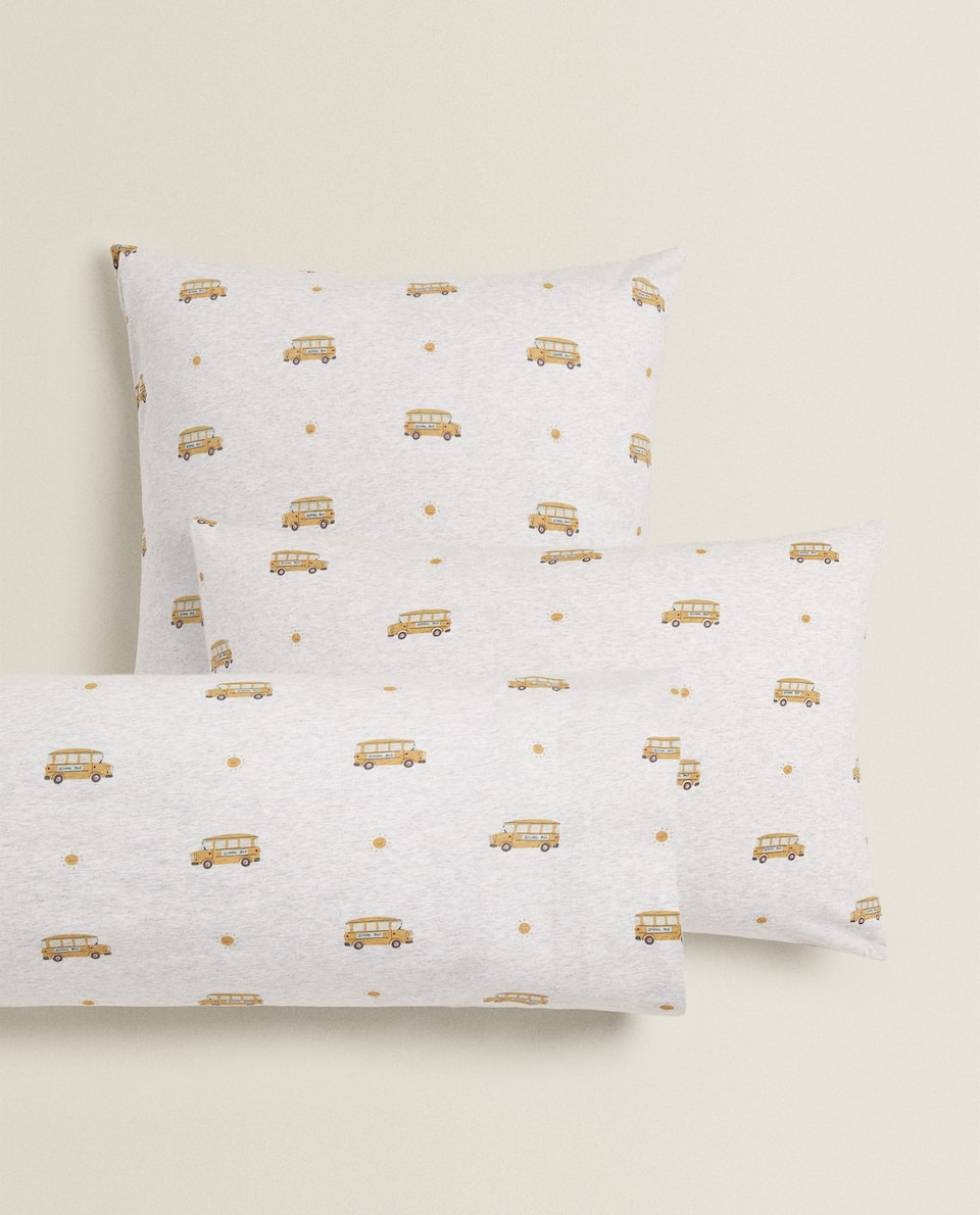 SCHOOL BUS COTTON JERSEY PILLOWCASE