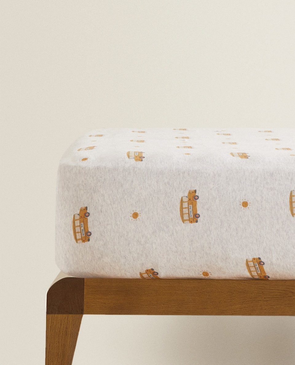SCHOOL BUS COTTON JERSEY FITTED SHEET