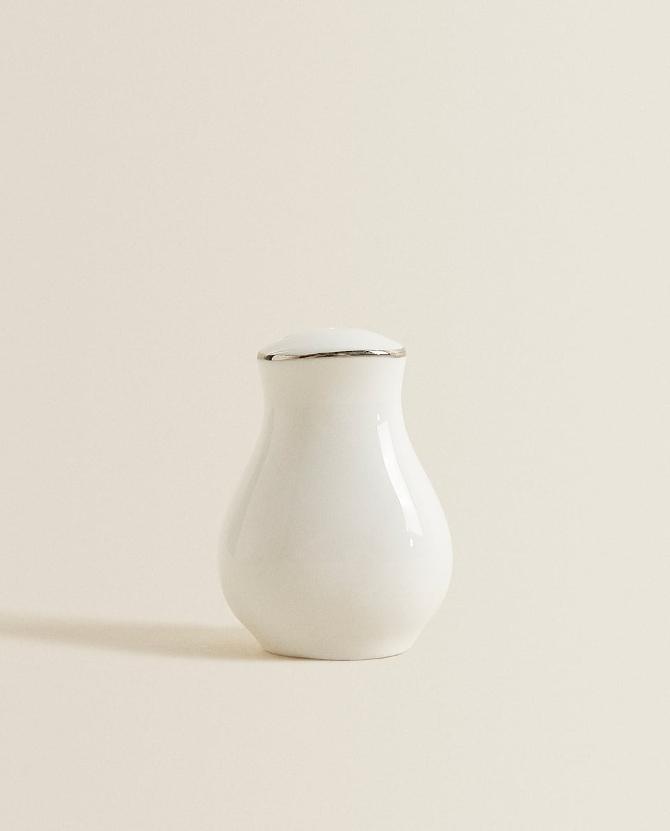 PORCELAIN SALT SHAKER WITH SILVER RIM