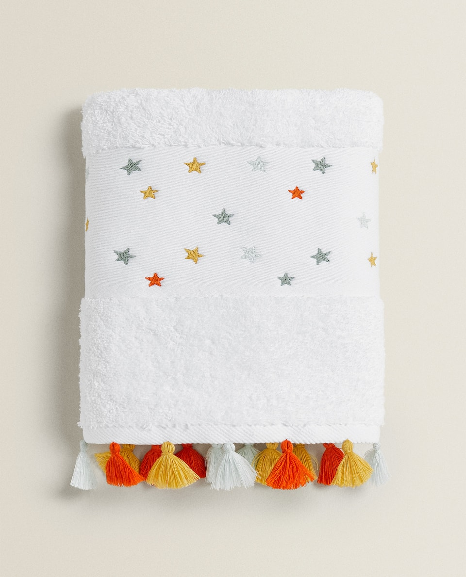 TOWEL WITH EMBROIDERED STARS
