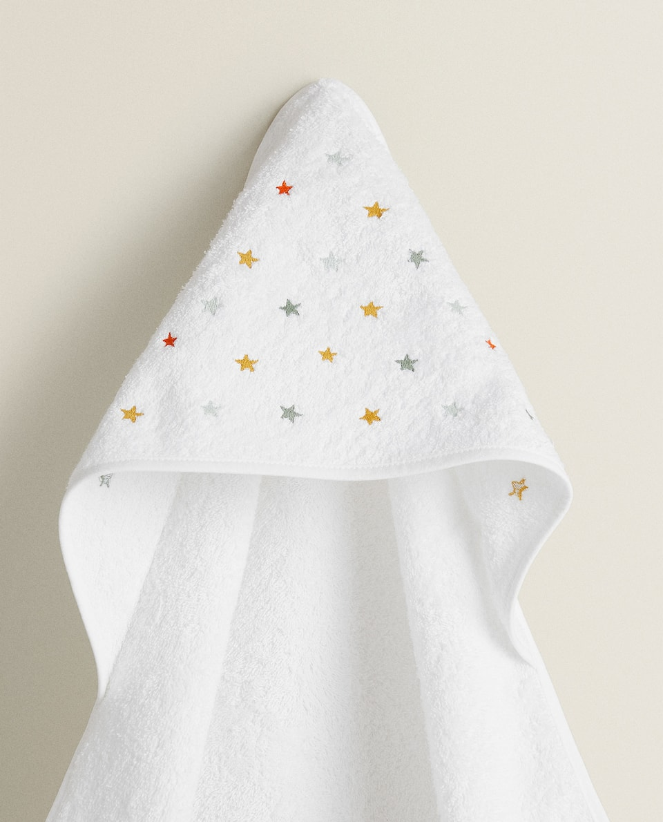 BABY TOWEL WITH EMBROIDERED STARS