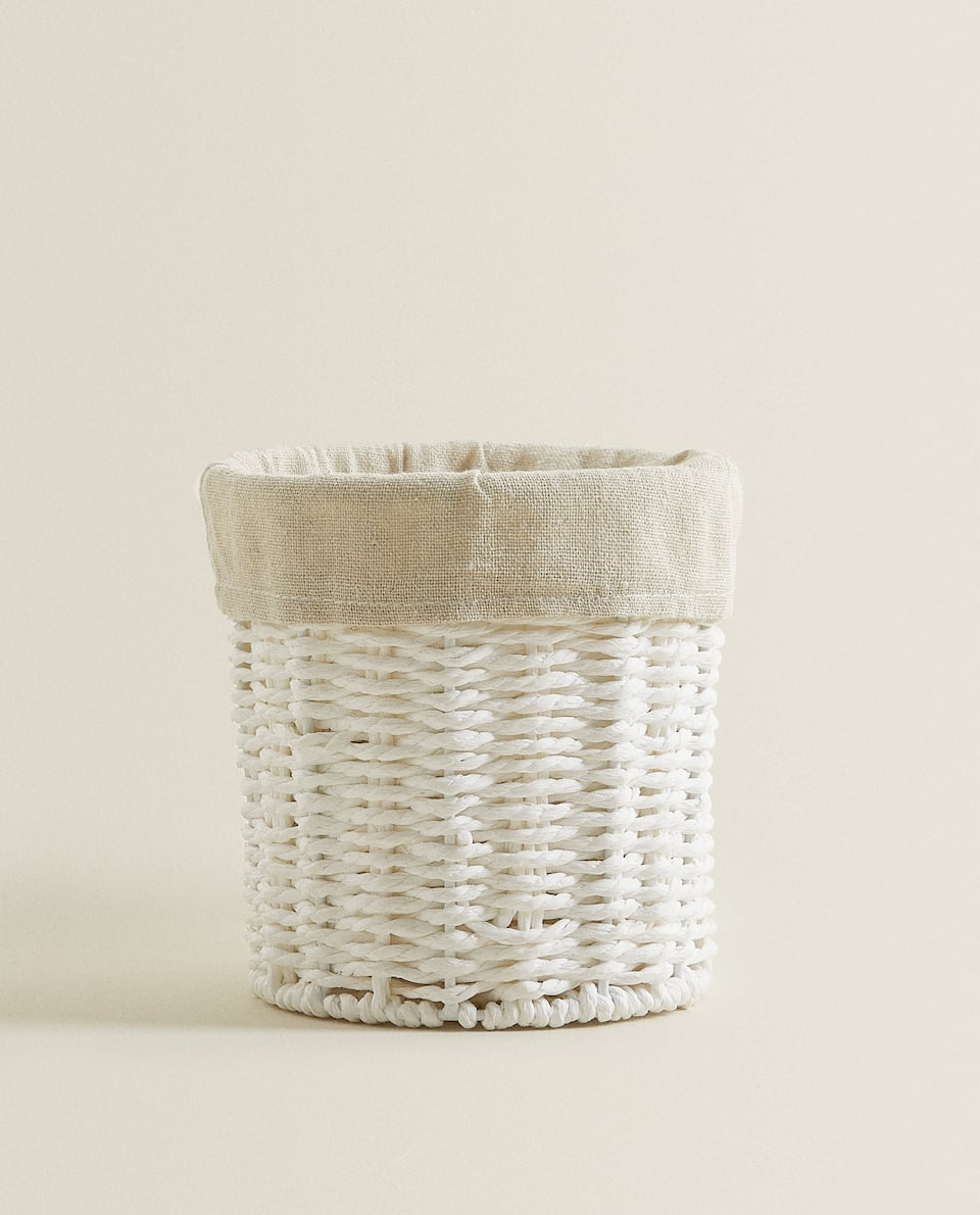 ROUND FABRIC-LINED BASKET