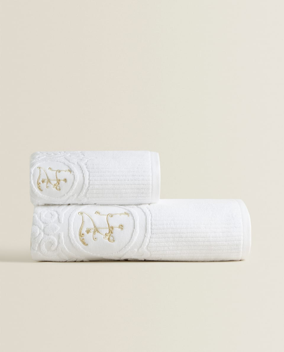 EMBROIDERED MONOGRAM TOWEL