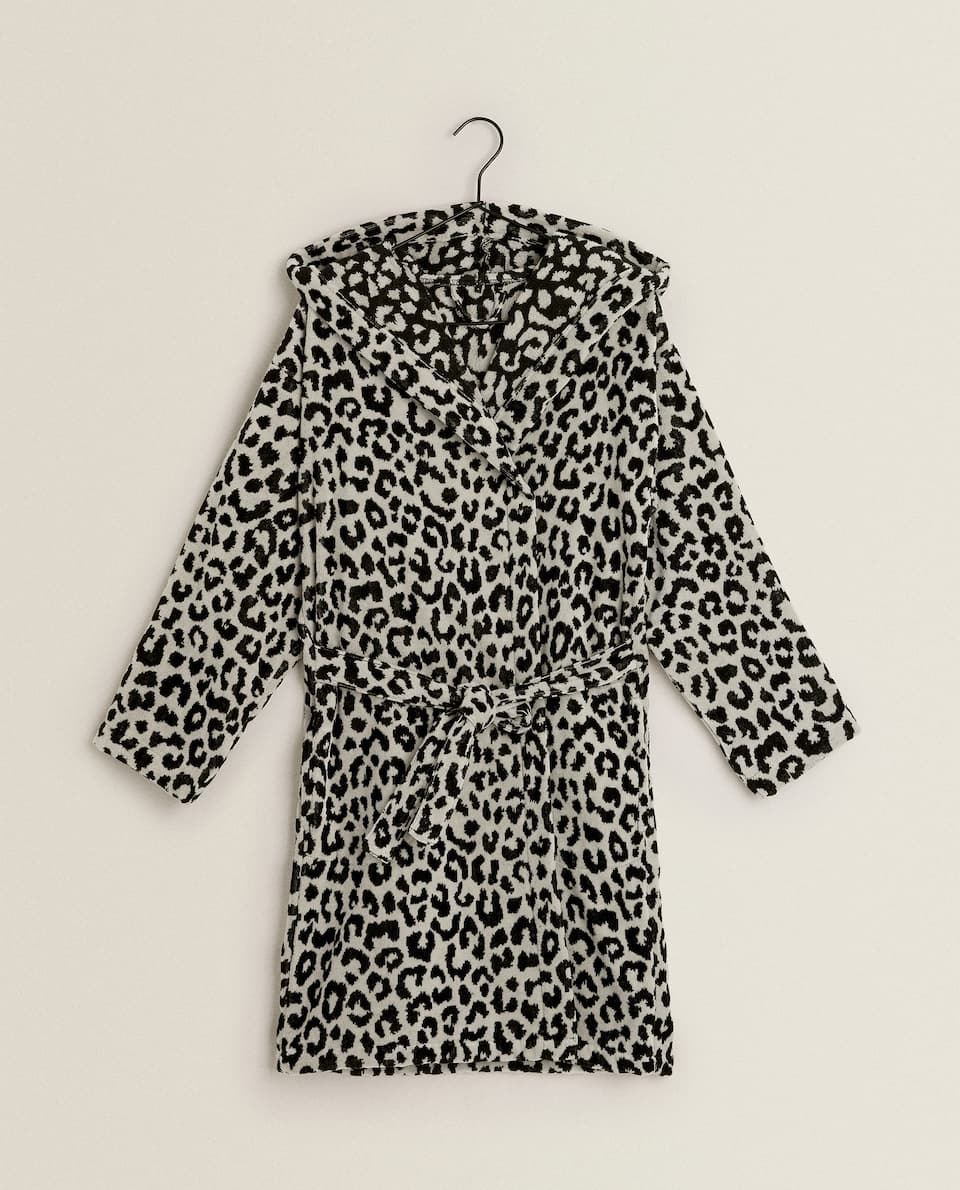 LEOPARD PRINT COTTON BATHROBE
