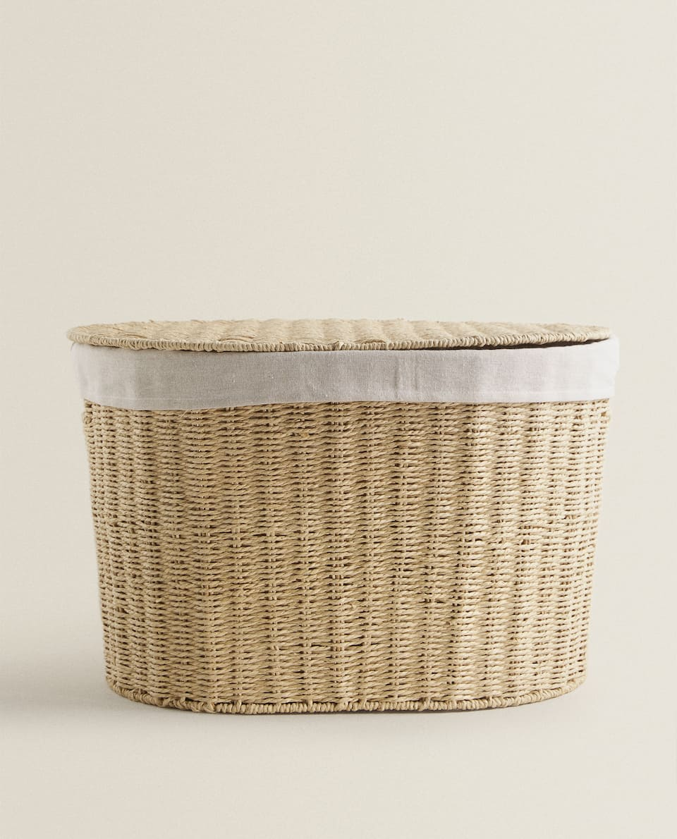 OVAL BASKET WITH FABRIC LINING