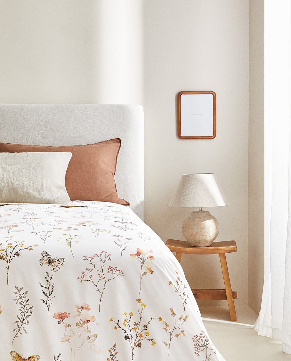 BUTTERFLY AND FLORAL PRINT DUVET COVER