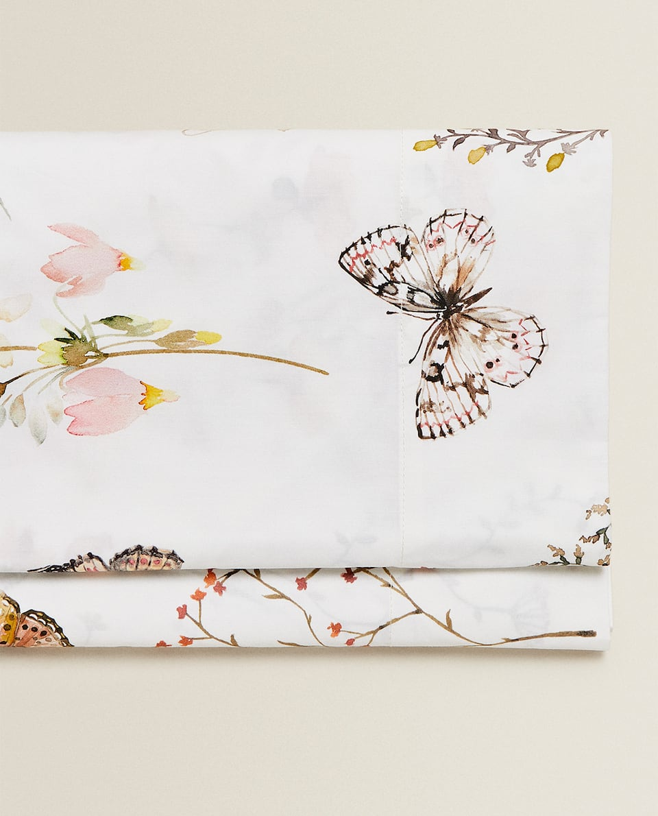BUTTERFLY AND FLORAL PRINT FLAT SHEET