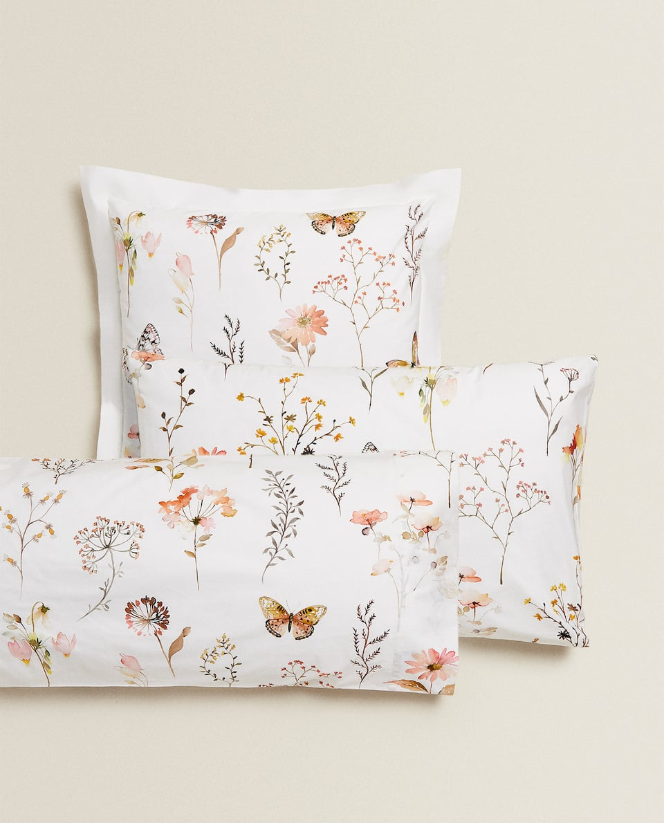 BUTTERFLY AND FLORAL PRINT PILLOWCASE
