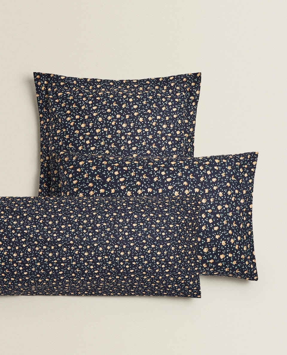 BLUE MINI FLORAL PRINT PILLOWCASE