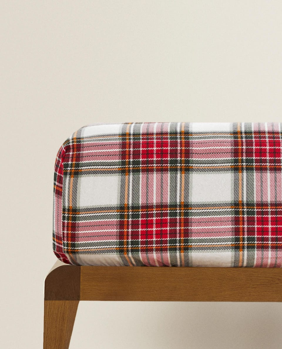 CHECK FLANNEL FITTED SHEET