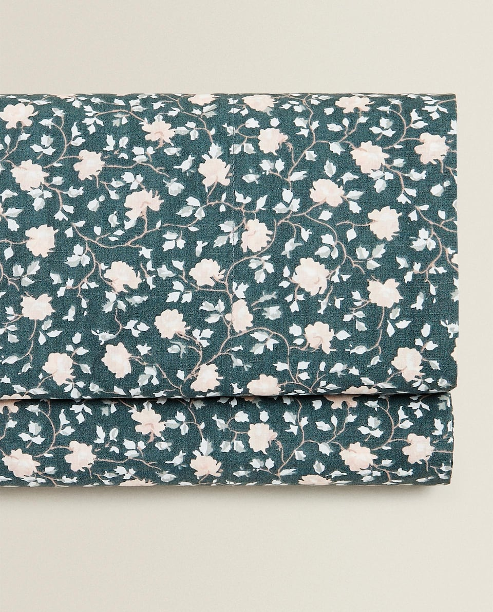 GREEN MINI FLORAL PRINT FLAT SHEET