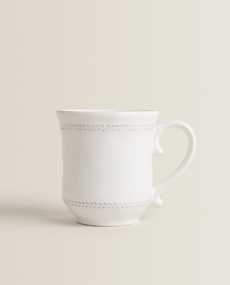 HERRINGBONE EARTHENWARE MUG