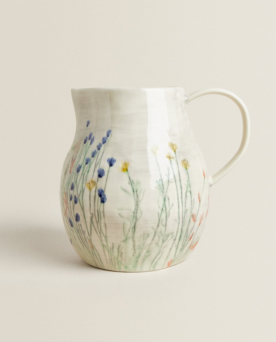 STONEWARE JUG WITH HAND-PAINTED FLOWERS