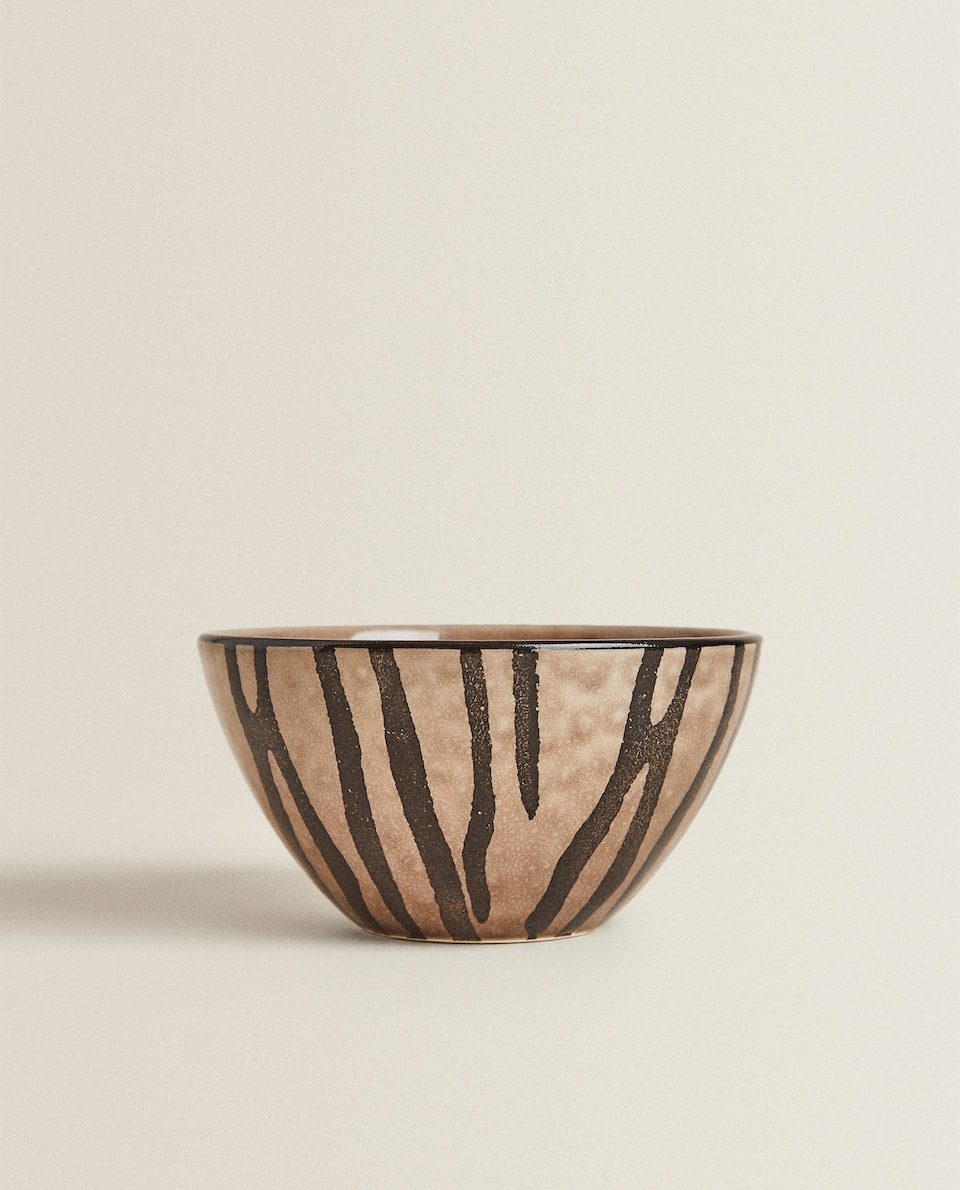 STONEWARE BOWL WITH ZEBRA PRINT