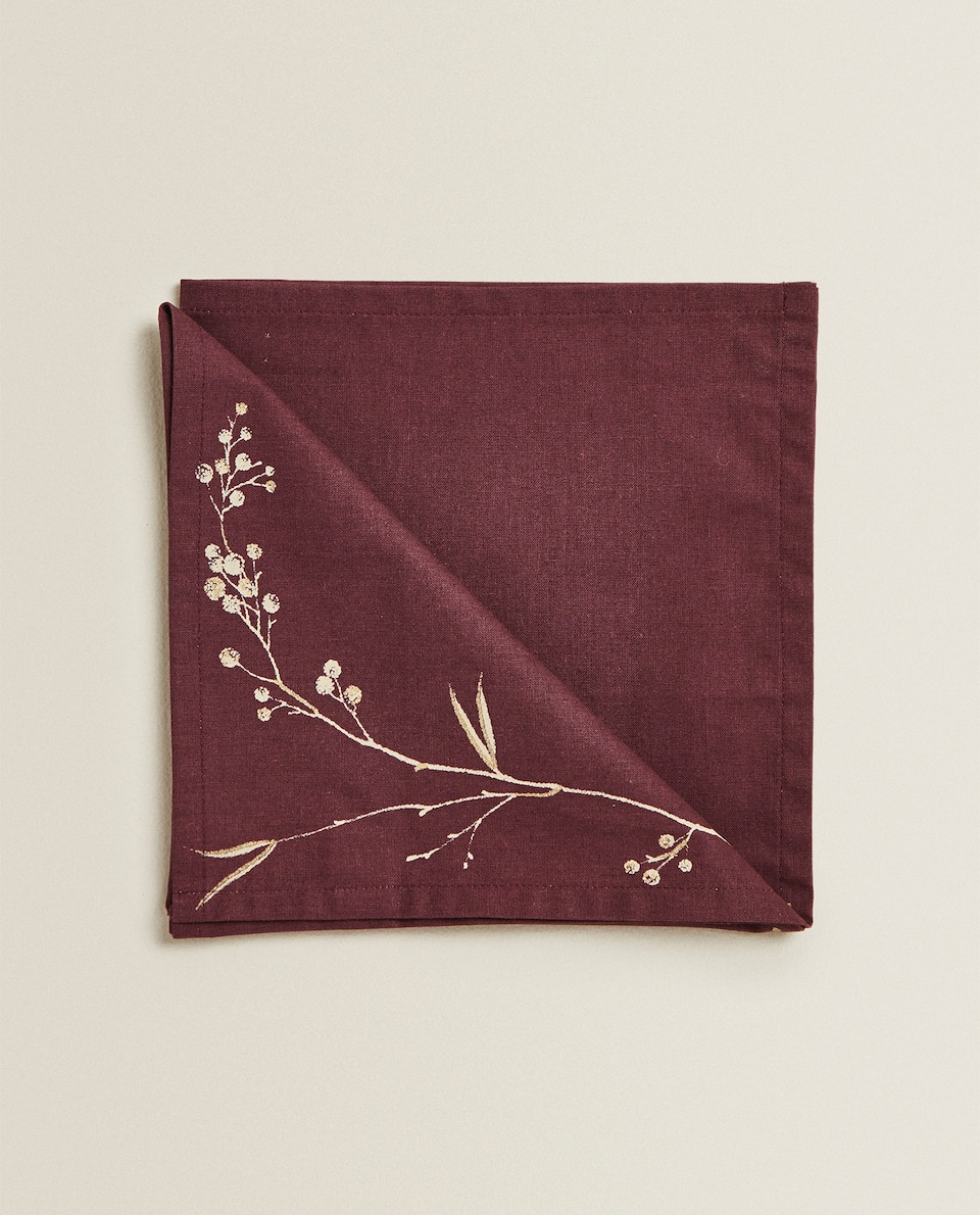 METALLIC FLORAL NAPKIN (PACK OF 2)