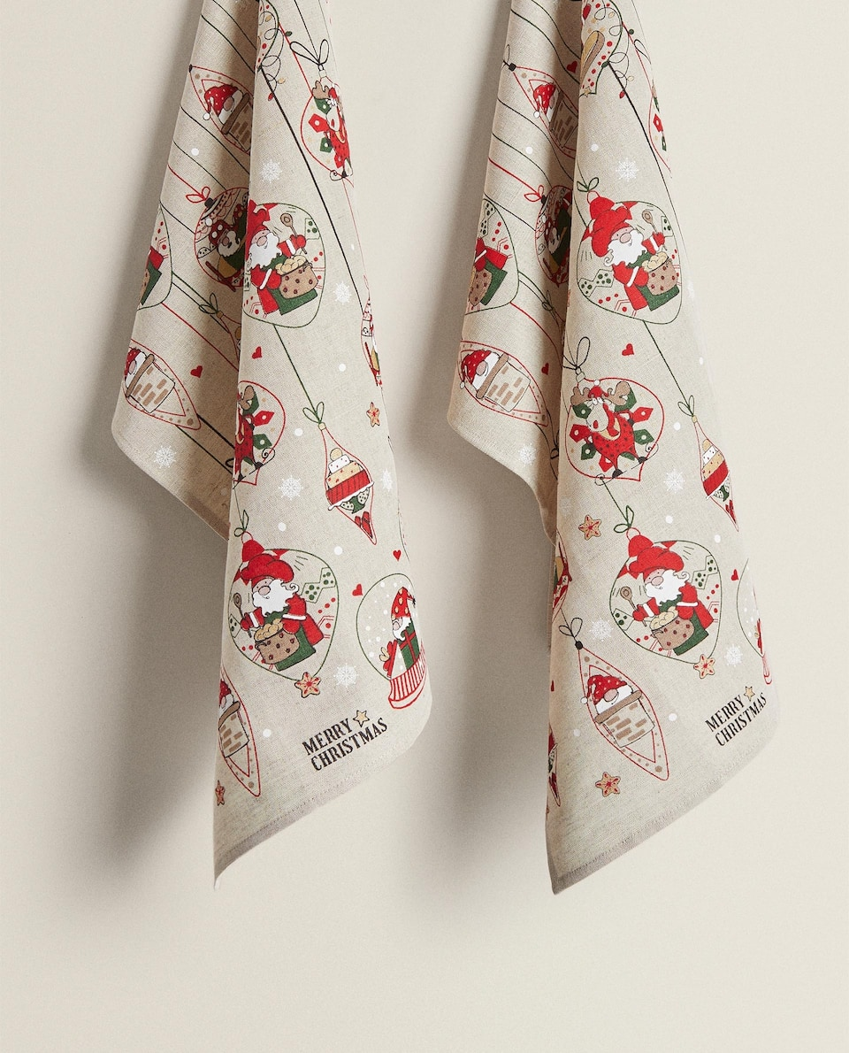 CHRISTMAS TREE PRINT TEA TOWEL (PACK OF 2)