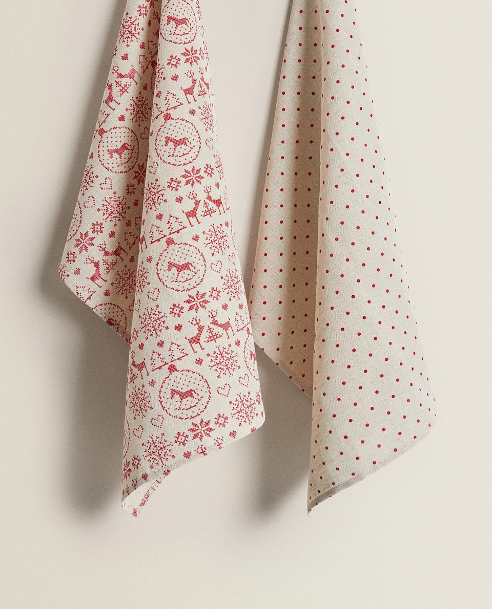 REINDEER AND POLKA DOT TEA TOWELS (PACK OF 2)