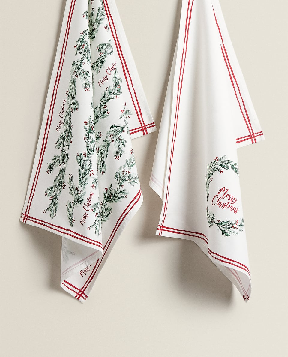 CHRISTMAS PRINT TEA TOWEL (PACK OF 2)