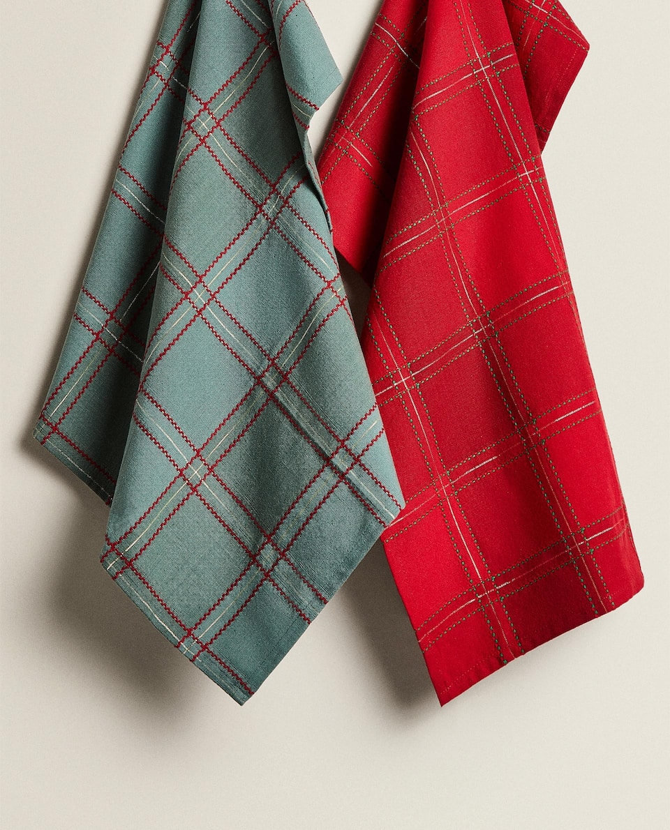 TWO-TONE CHECK TEA TOWEL (PACK OF 2)