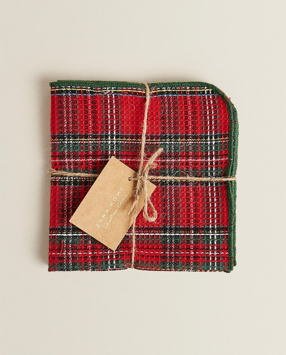 MULTICOLOURED TARTAN TEA TOWEL (PACK OF 2)