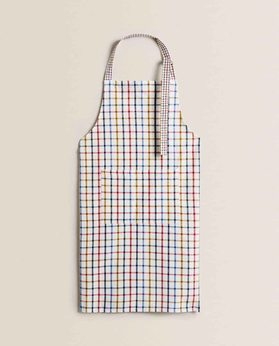 DYED THREAD COTTON APRON
