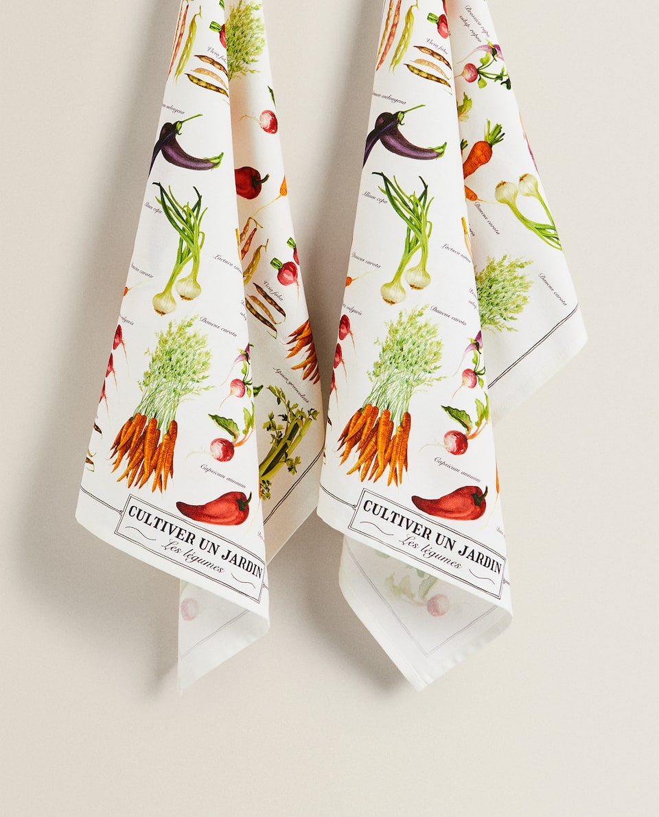 VEGETABLE PRINT TEA TOWEL (PACK OF 2)
