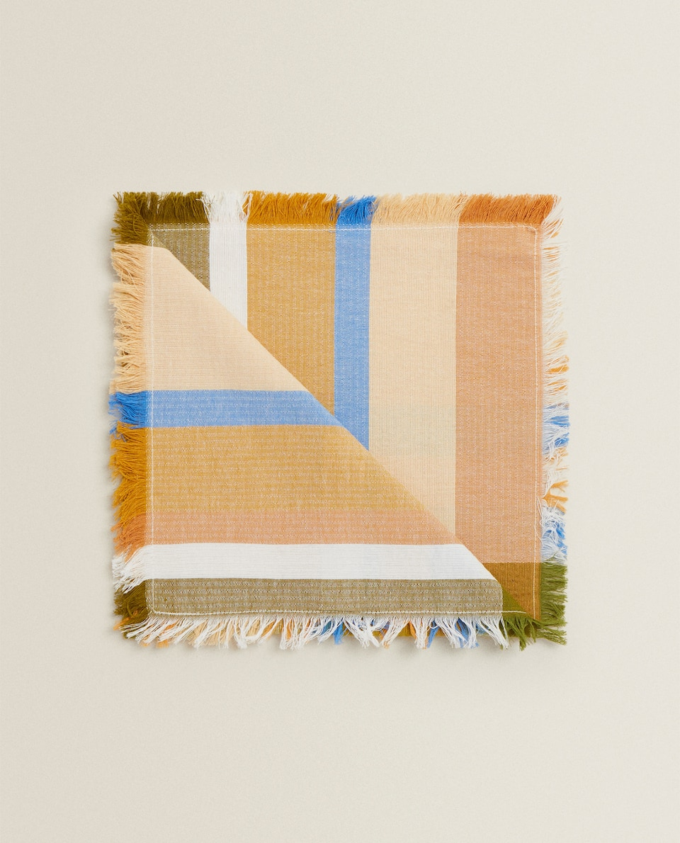 MULTICOLOURED CHECK NAPKIN (PACK OF 2)