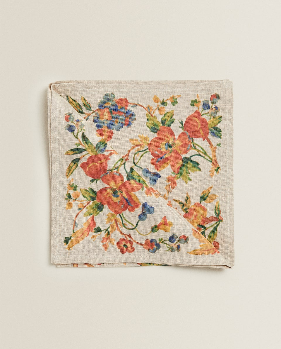 SERVIETTE DE TABLE LIN IMPRIMÉ FLORAL (LOT DE 2)