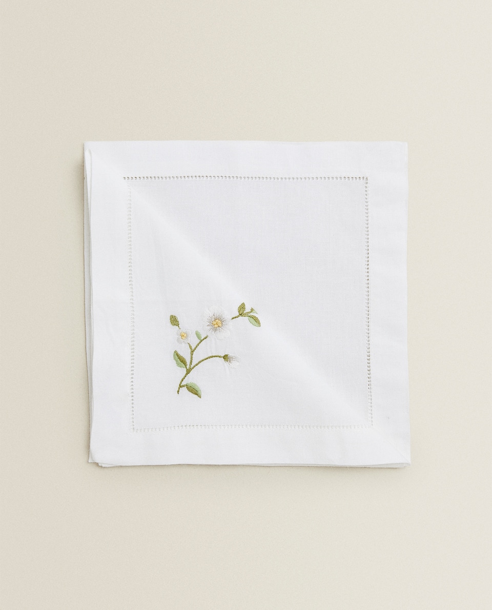 SERVIETTE DE TABLE BRODERIE FLEURS (LOT DE 2)