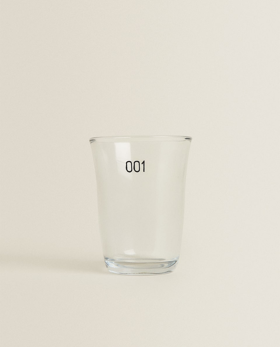 THICK GLASS WATER TUMBLER WITH NUMBER TRANSFER
