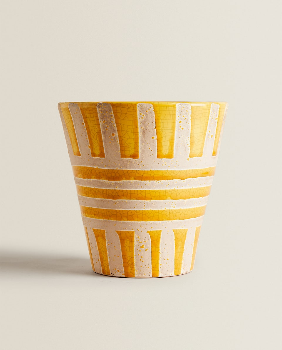 YELLOW DECORATIVE FLOWERPOT