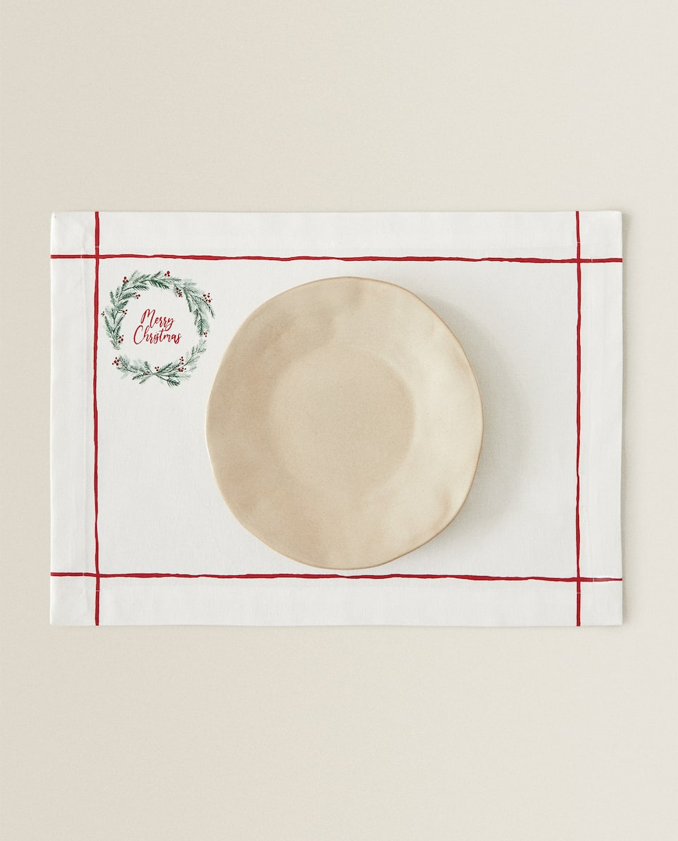 CHRISTMAS PLACEMAT WITH WREATH (PACK OF 2)
