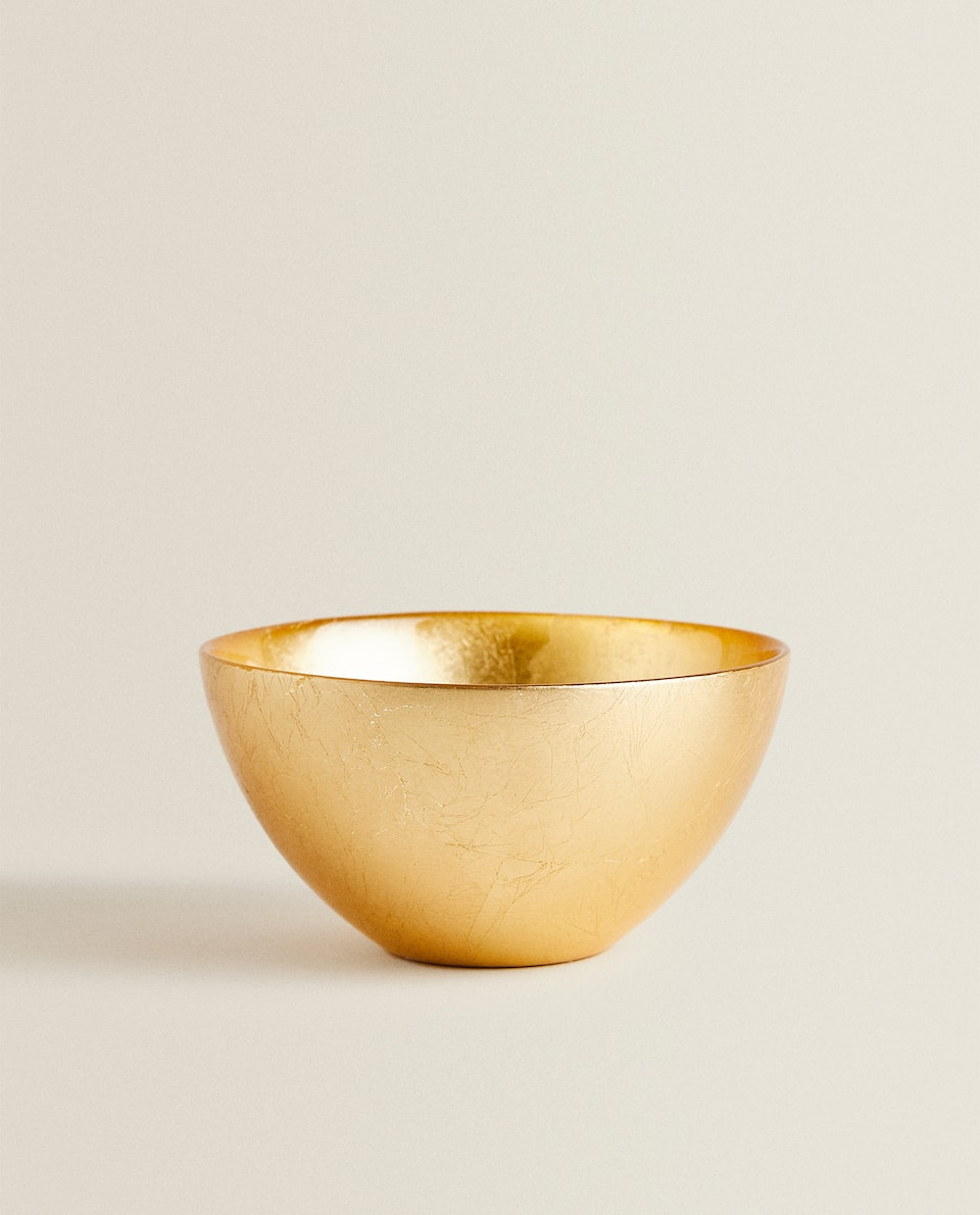 GOLD LEAF GLASS BOWL