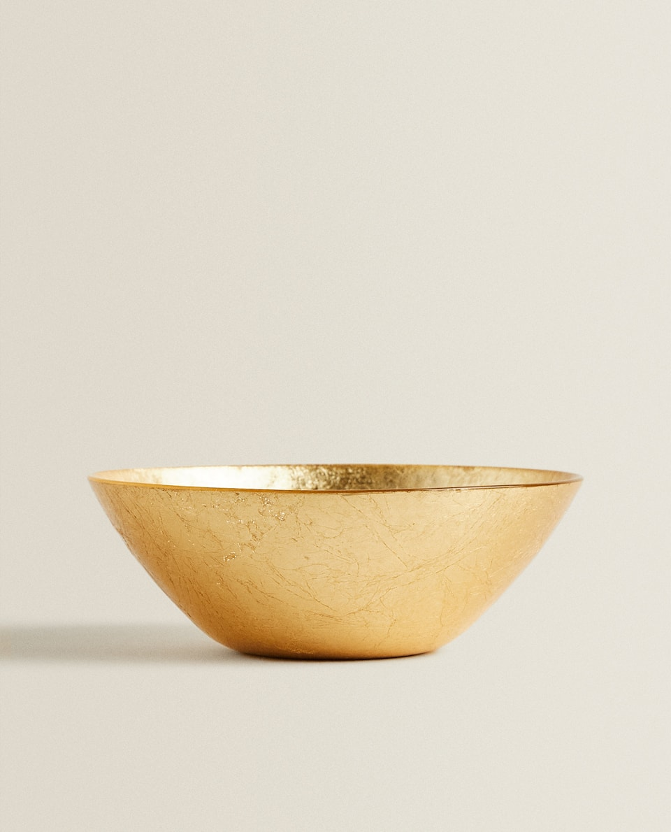 GOLDEN GLASS SALAD BOWL