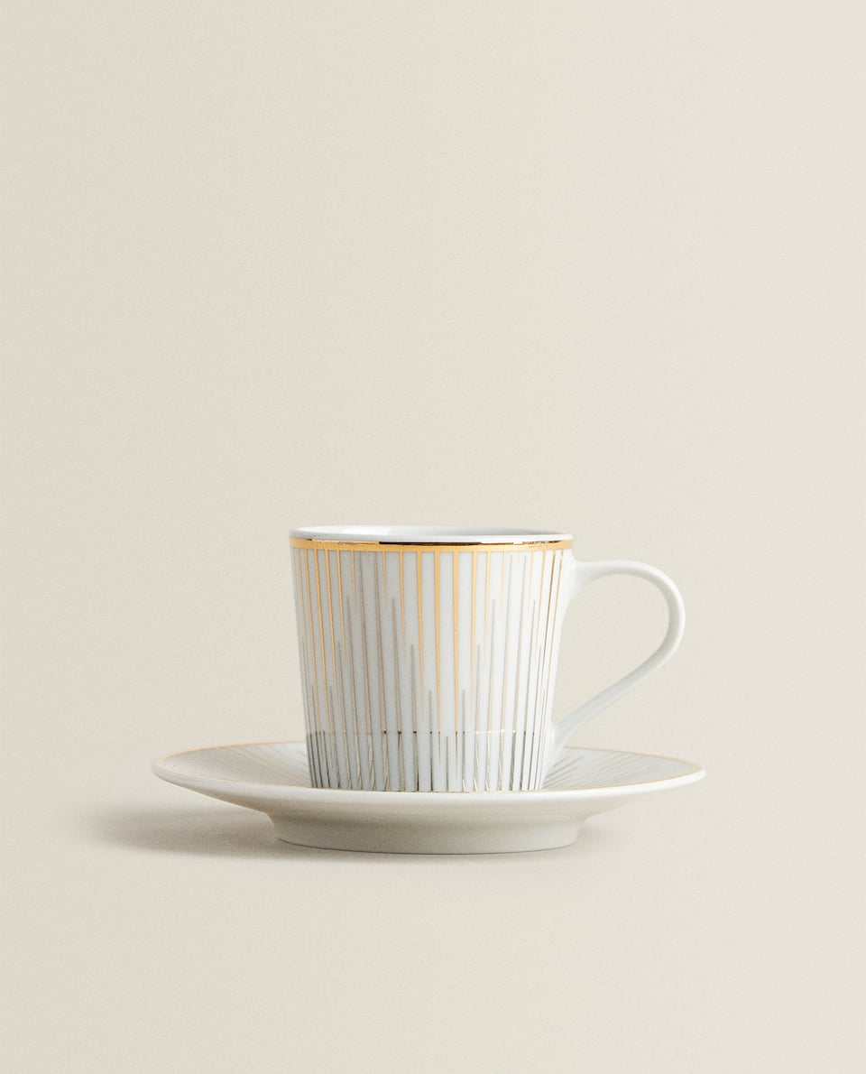 COFFEE CUP AND SAUCER WITH GOLD RIM