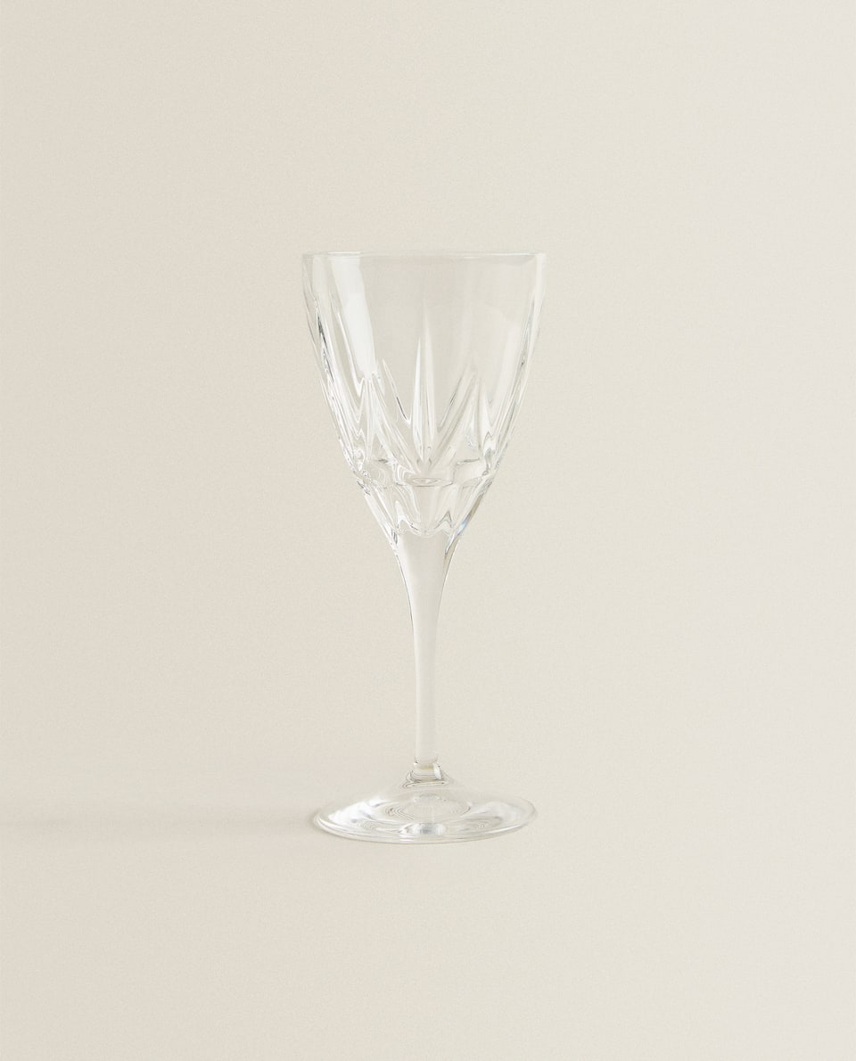 CUT GLASS CRYSTALLINE WINE GLASS