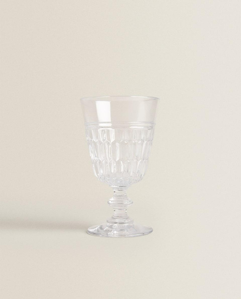 RAISED DESIGN ACRYLIC WINE GLASS