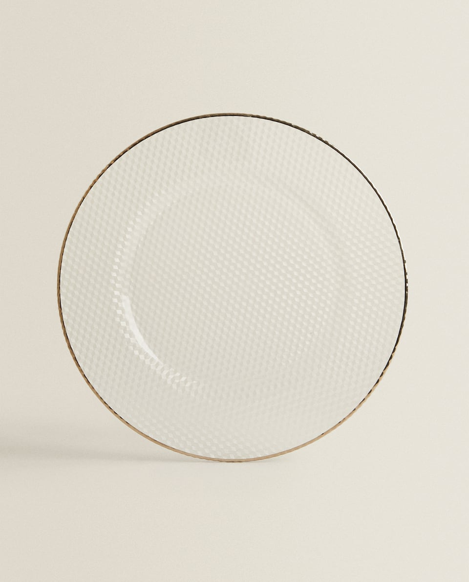 SERVICE PLATE WITH SILVER RIM