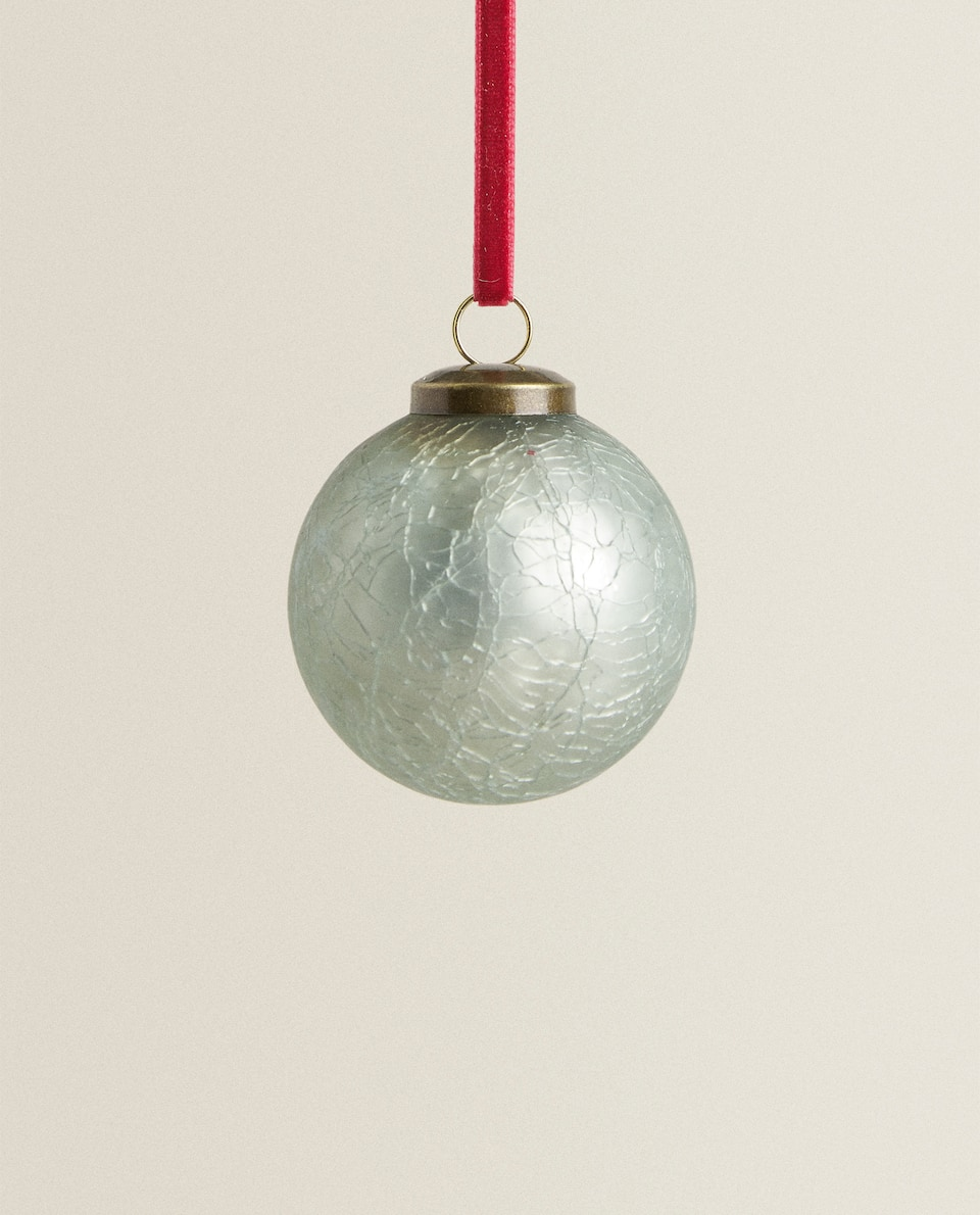 CRACKLED GLASS CHRISTMAS BAUBLE