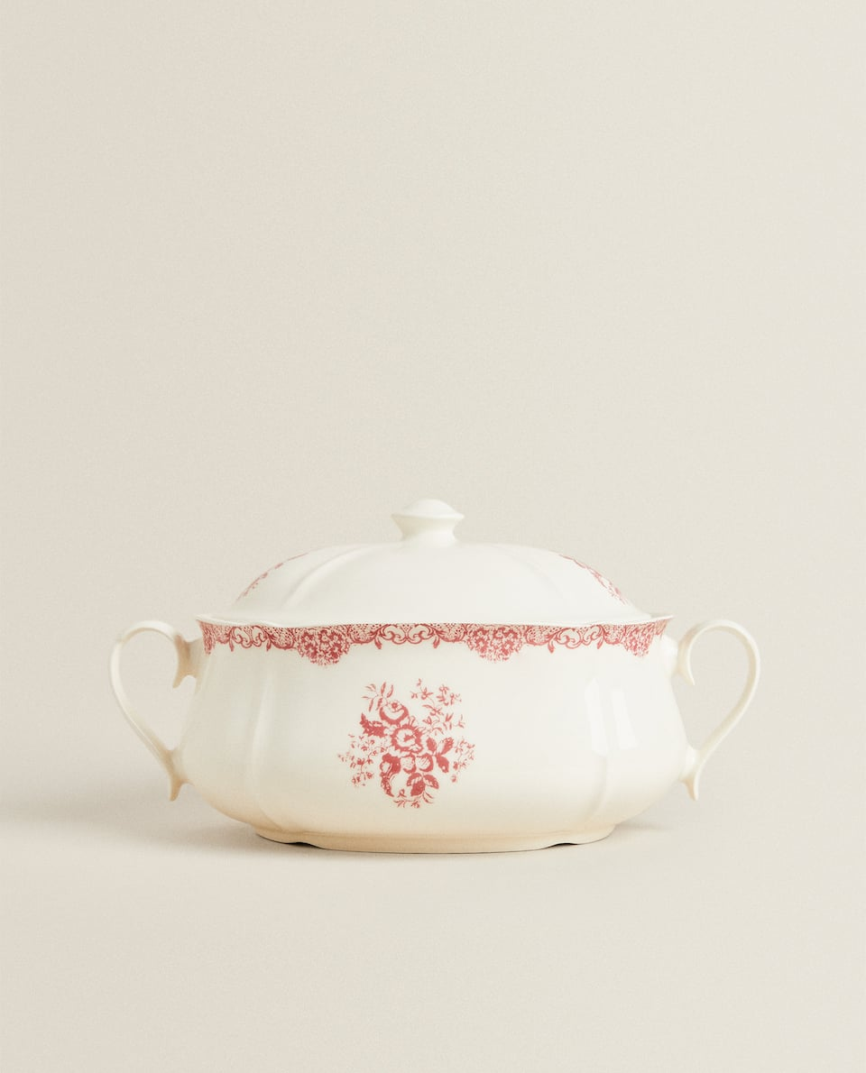 FLORAL EARTHENWARE TUREEN