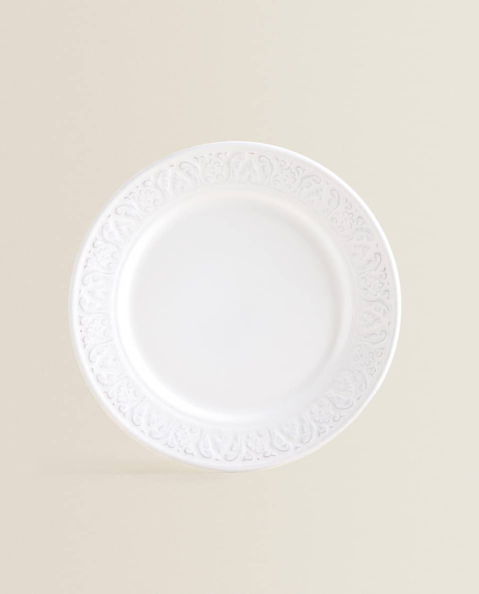 White Raised Design Earthenware Dessert Plate Other Accessories Table Accessories Dining Zara Home Luxembourg