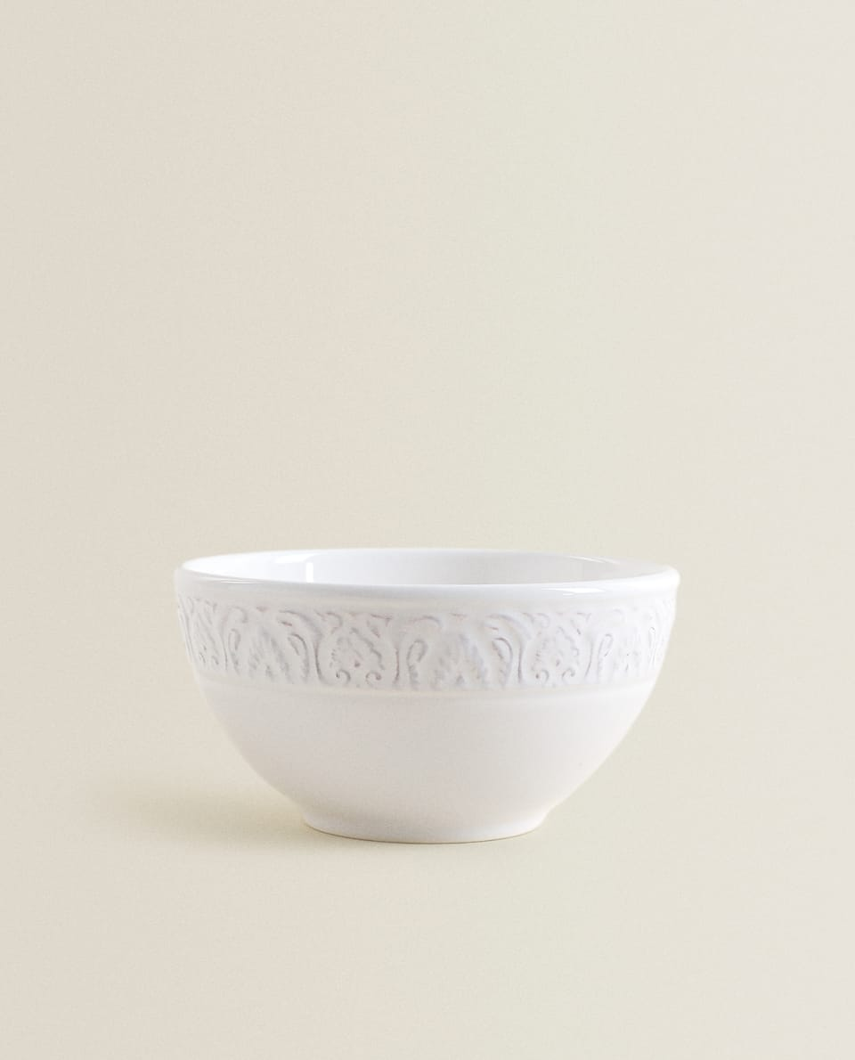 EARTHENWARE BOWL WITH RAISED DESIGN