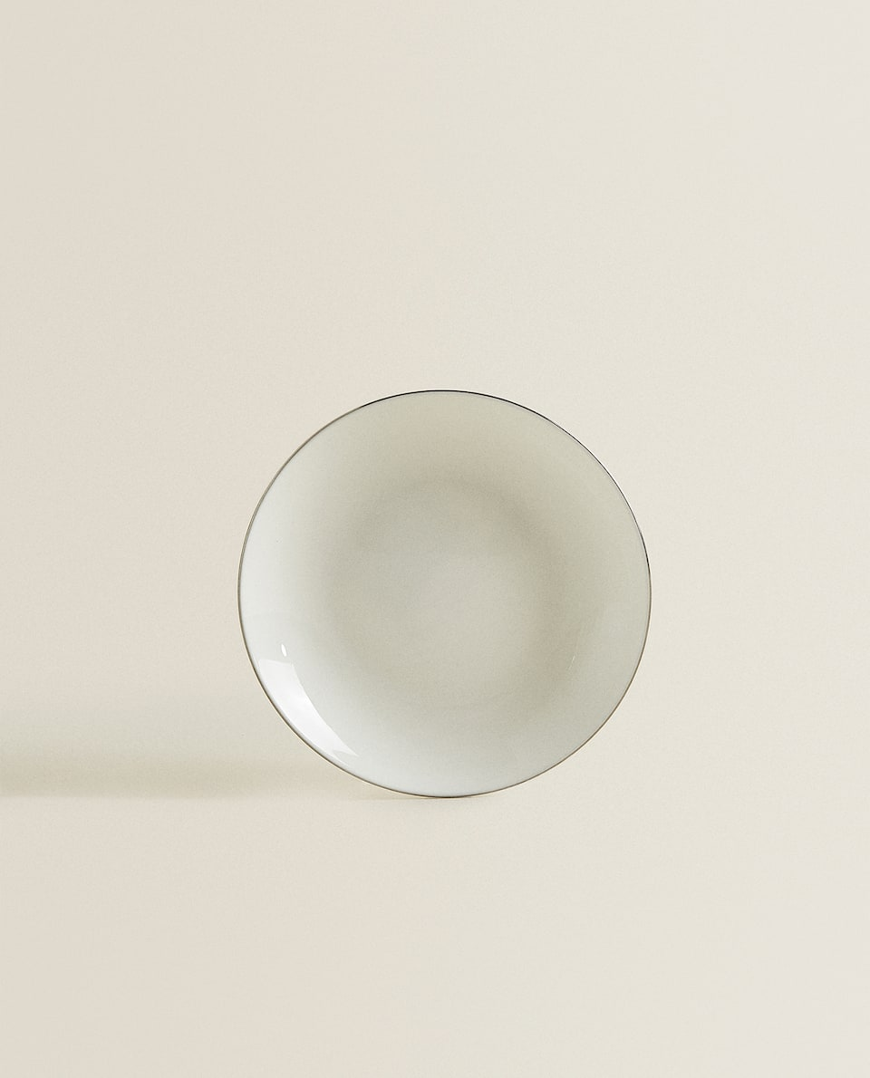 PORCELAIN SIDE PLATE WITH SILVER RIM