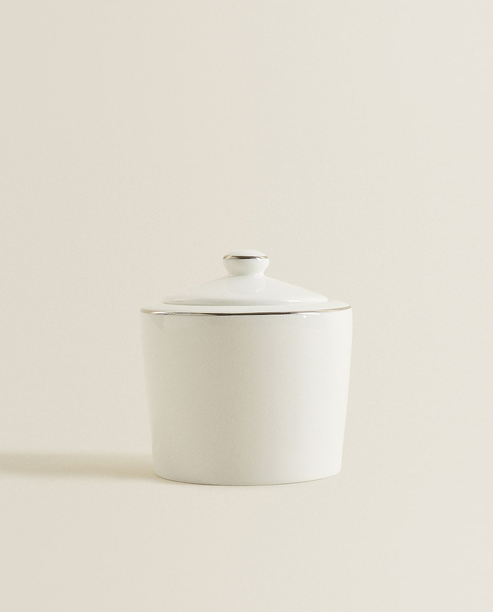 PORCELAIN SUGAR BOWL WITH PLATINUM RIM
