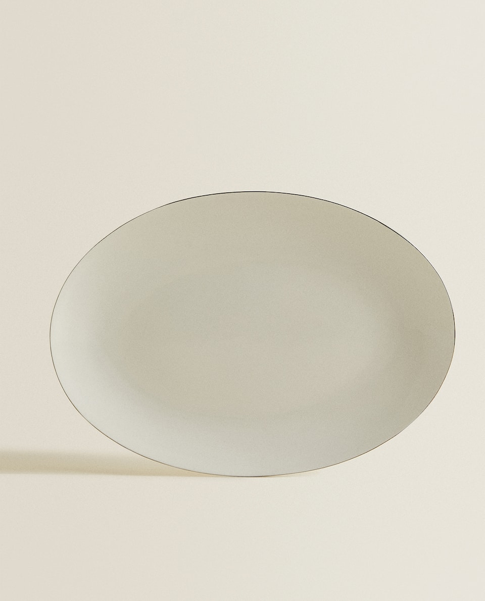 PORCELAIN SERVING DISH WITH PLATINUM RIM