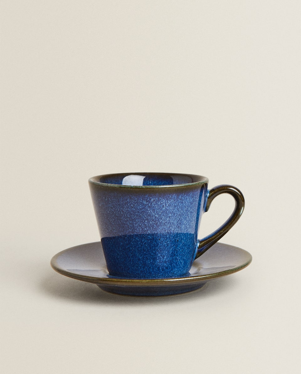 GLAZED STONEWARE COFFEE CUP AND SAUCER
