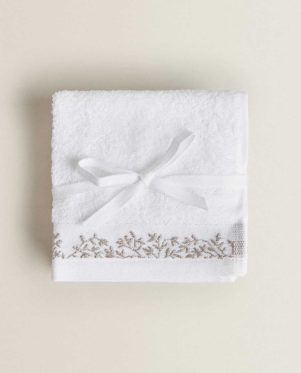 TOWEL WITH LEAVES BORDER (PACK OF 3)