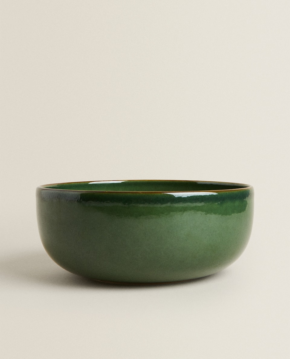 GREENISH STONEWARE SALAD BOWL
