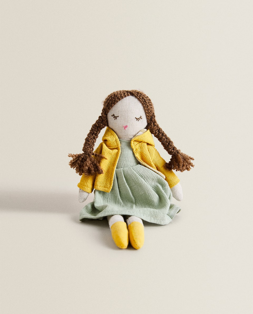 DOLL SOFT TOY WITH PIGTAILS